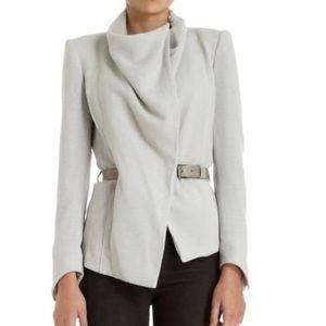Helmut Lang Gray Sonar Drape Funnel Neck Wool Leather Belted Jacket Size 2